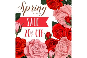 Vector rose flowers poster for spring season sale