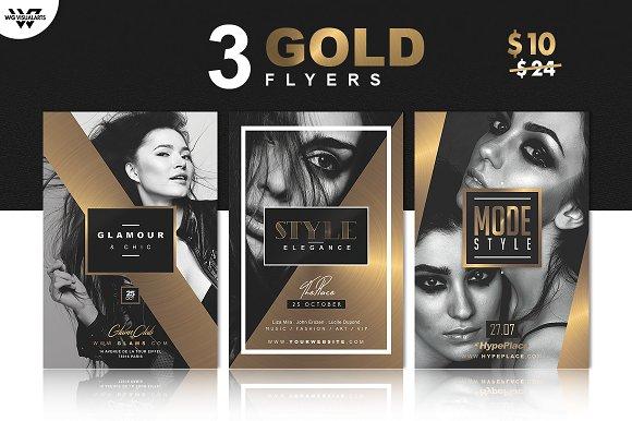 3 gold elegant flyer templates flyer templates creative market
