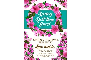Vector spring holiday festival invitation card