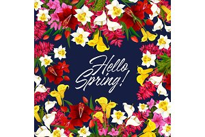 Vector springtime flowers seasonal poster