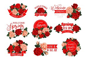 Vector rose flowers for Mother day spring holiday