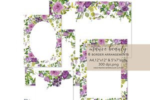 Watercolor Floral Foliage Frame Set