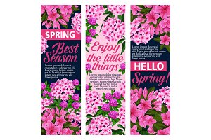 Vector spring flowers greeting banners