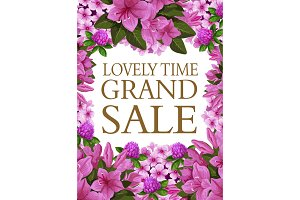 Vector spring sale poster of blooming flowers