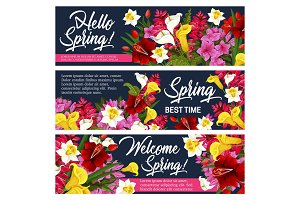 Spring flower greeting banner of Springtime design