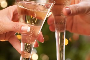 Couple Toasting Holiday Champagne