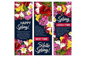 Hello Spring floral banner for Springtime holiday