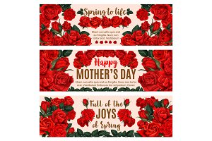 Mother Day greeting banner with spring rose flower