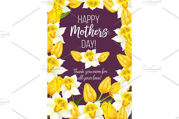 Vector Mother Day Flowers Bunch Greeting Card