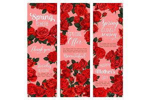 Rose flower banner for Spring holiday celebration