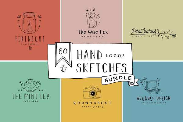 Logo Templates: Hatch Design Workshop - Handmade Logo Bundle Premade Vol 1.