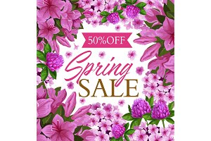 Spring sale offer poster with pink flower frame