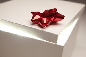 Gift Box, Red Bow, Bright Light