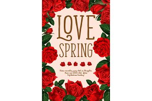 Vector spring holiday flowers roses love poster