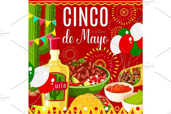 Cinco De Mayo Mexican Fiesta Vector Greeting Card