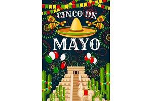 Cinco de Mayo Mexican sombrero vector greeting