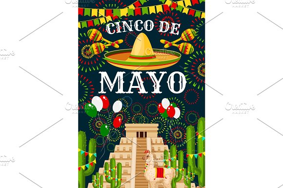 Cinco De Mayo Mexican Sombrero Vector Greeting