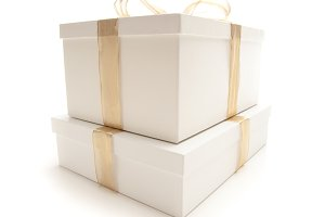 Gift Boxes & Gold Ribbon on White