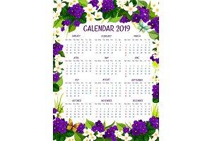Calendar 2019 vector floral crocus flowers design