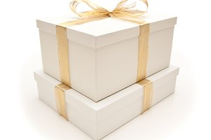 Gift Box & Gold Ribbon on White