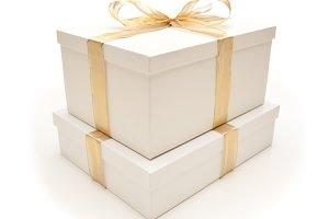 Gift Box & Gold Ribbon on White