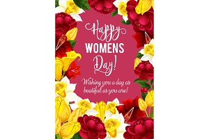 Women Day greeting card with spring flower frame