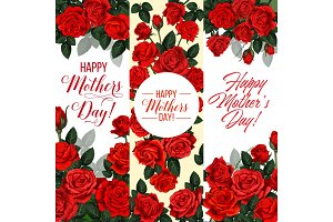 Mother Day holiday greeting card with rose flower