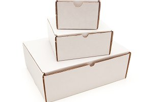 Stack of Blank White Cardboard Boxes