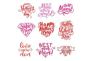 Vector Mother Day holiday greeting text icons