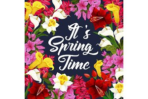 Springtime poster with spring season flower frame