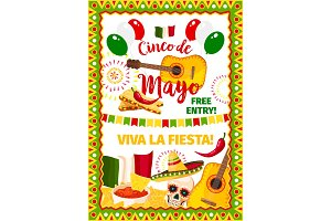 Cinco de Mayo fiesta Mexican vector greeting card