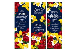 Mother Day flower banner for spring holiday design