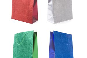 Four Multicolored Glitter Gift Bags