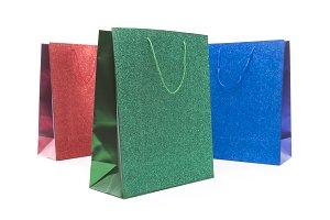 Three Multicolored Glitter Gift Bags