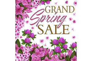 Spring season sale discount offer floral banner