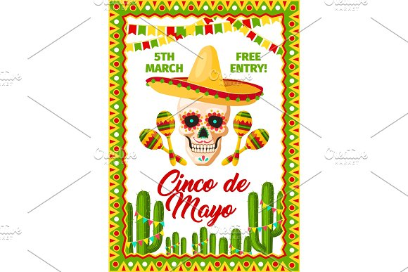 Cinco De Mayo Mexican Party Vector Invitation