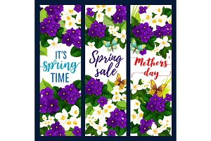 Mother Day and Spring Holiday floral greeting card