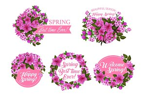 Spring season holiday icon with pink flower frame