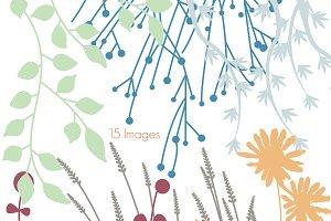 Flower Silhouettes 1 Vectors/Clipart
