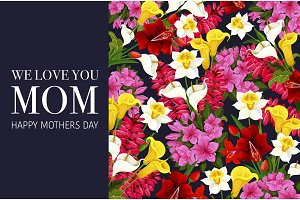 Mother Day banner with spring flower background