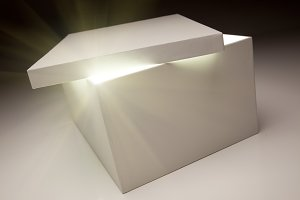 White Box with Lid Revealing Light