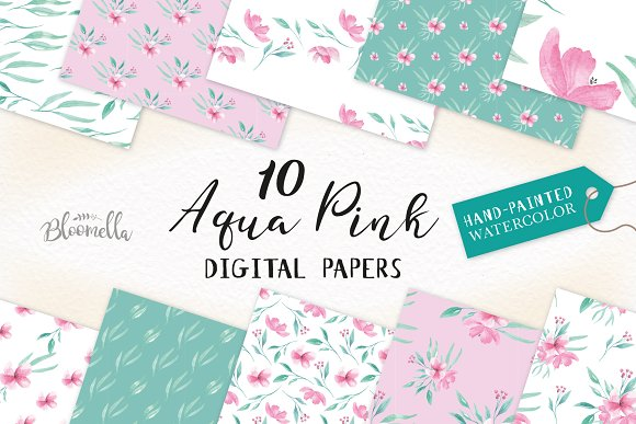 Aqua Pink Seamless Patters Papers