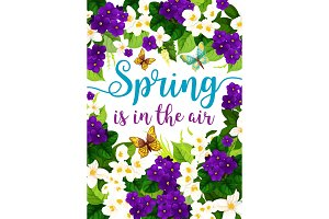Vector spring holiday flowers floral poster
