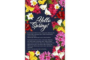 Vector springtime flowers blooming bunch poster