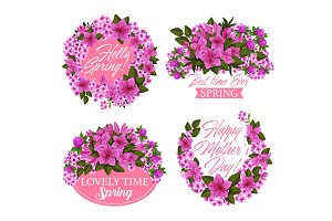 Pink flower wreath icon for spring holiday design