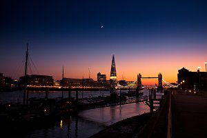 Wide angle of London by dusk