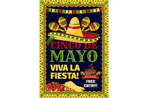 Cinco de Mayo fiesta Mexican party vector poster