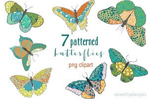 patterned butterfly PNG clipart
