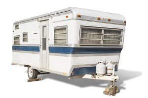 Classic Old Camper Trailer Isolated
