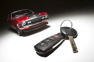 Car Key & Sports Car Under Light